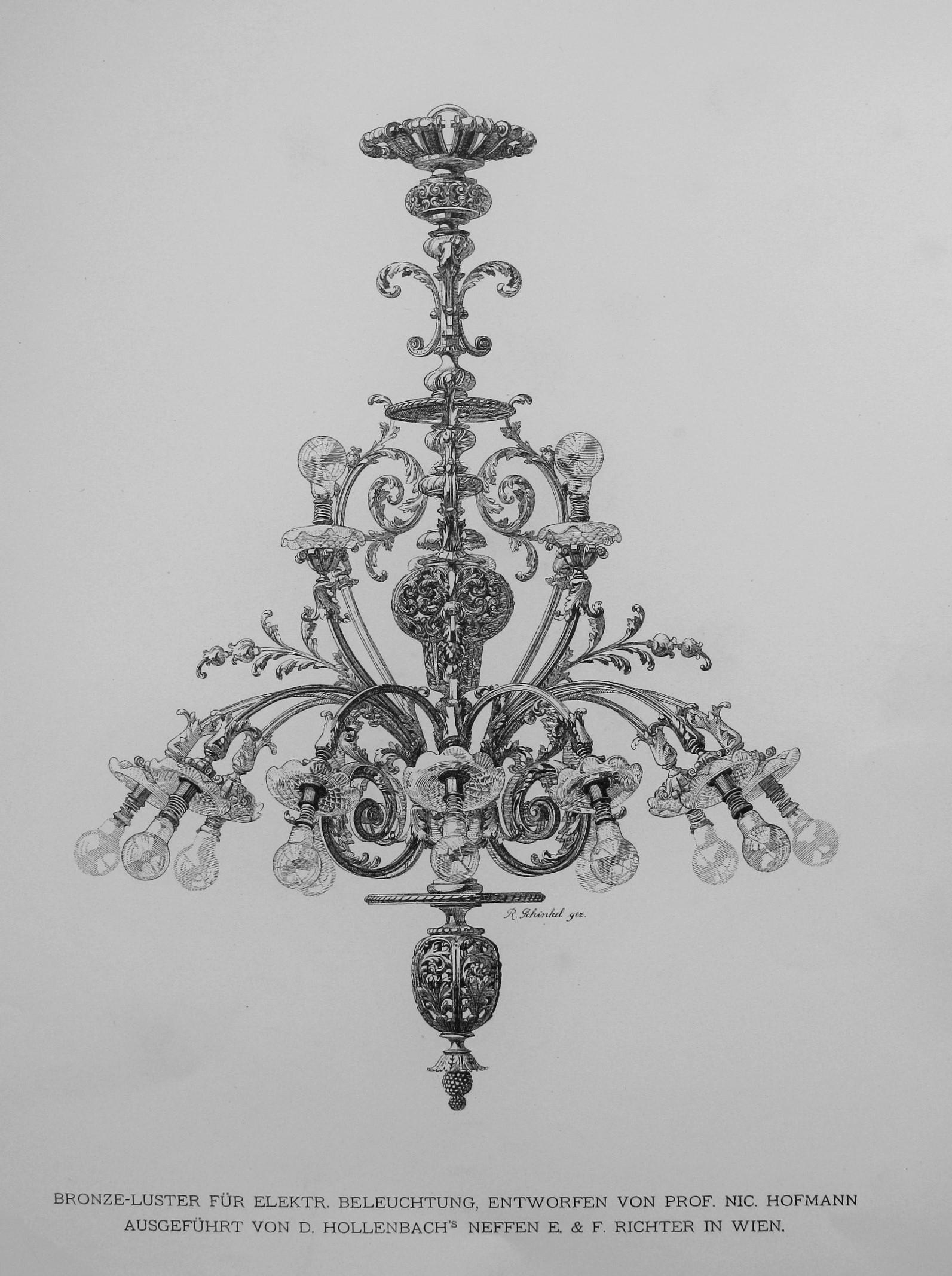 Chandelier project by prof. Nic. Hofmann, 1897.  Blatter fur kunstgewerbe organ des wiener kunstgewerbe-vereins, in: VDA Senų ir retų spaudinių skyrius, 7.03(051) Bl-17