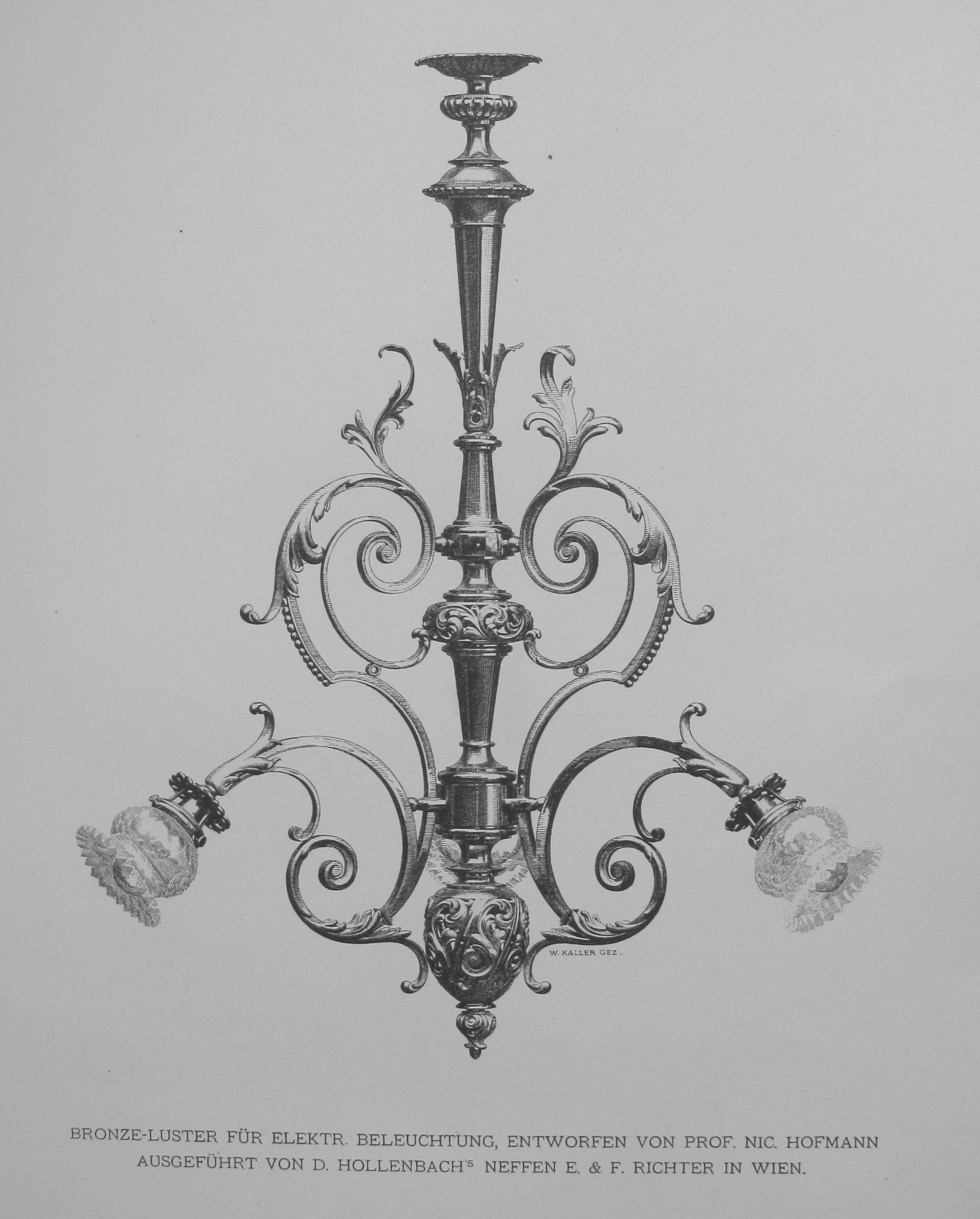 A chandelier designed by a professor from Vienna Nic. Hofmann in 1897. Reproduced from: the Library of the Vilnius Academy of Arts, 7.03(051)Bl-17.