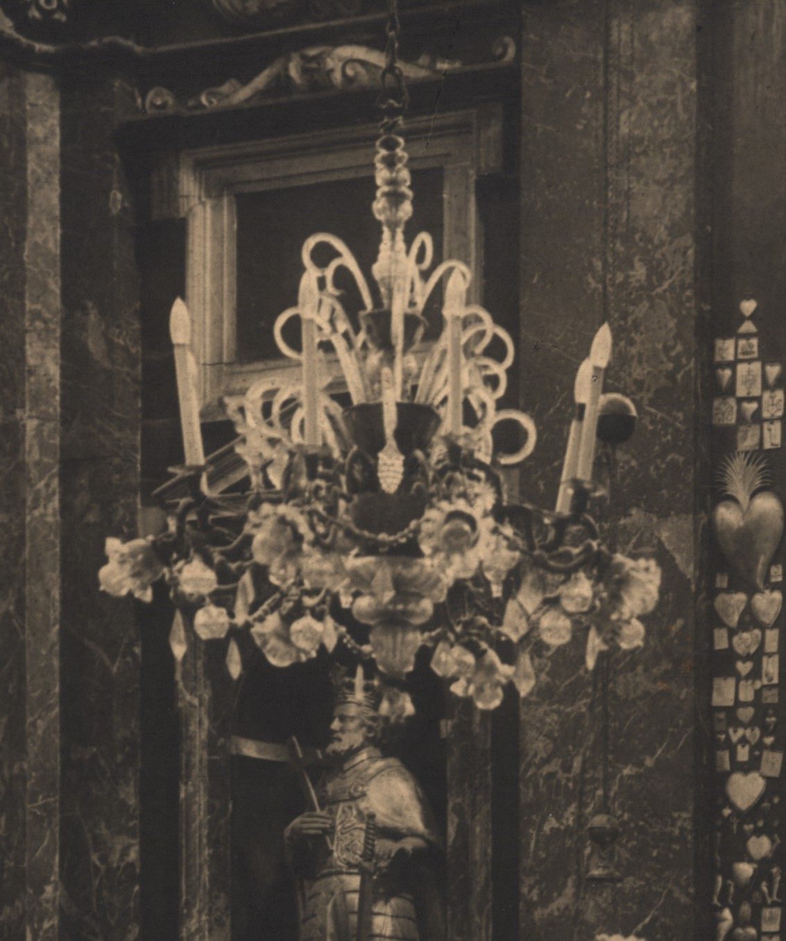 Chandelier at the Chapel of Saint Casimir of the Cathedral Basilica of Vilnius. Fragment of photo by Jan Bułhak, 1931, in: Lietuvos dailės muziejus, inv. Nr. Fi-106