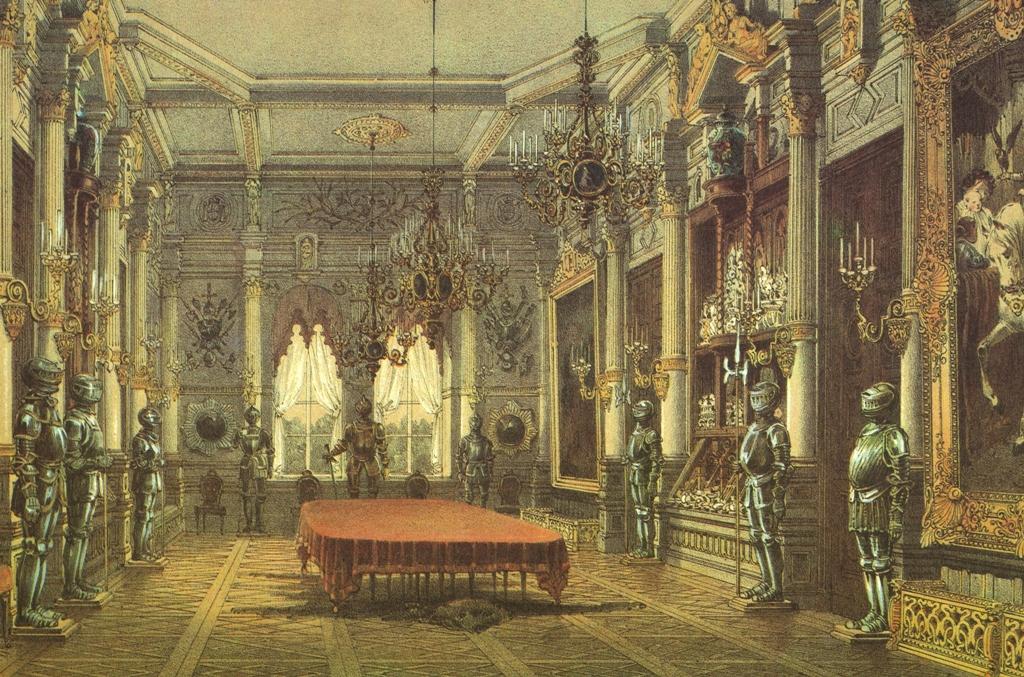 Chandeliers in the dining room of the Verkiai Palace. Chromolithography after Vasily Sadovnikov, 1848, from: Jonas Kazimieras Vilčinskis, Vilniaus albumas, 1987.