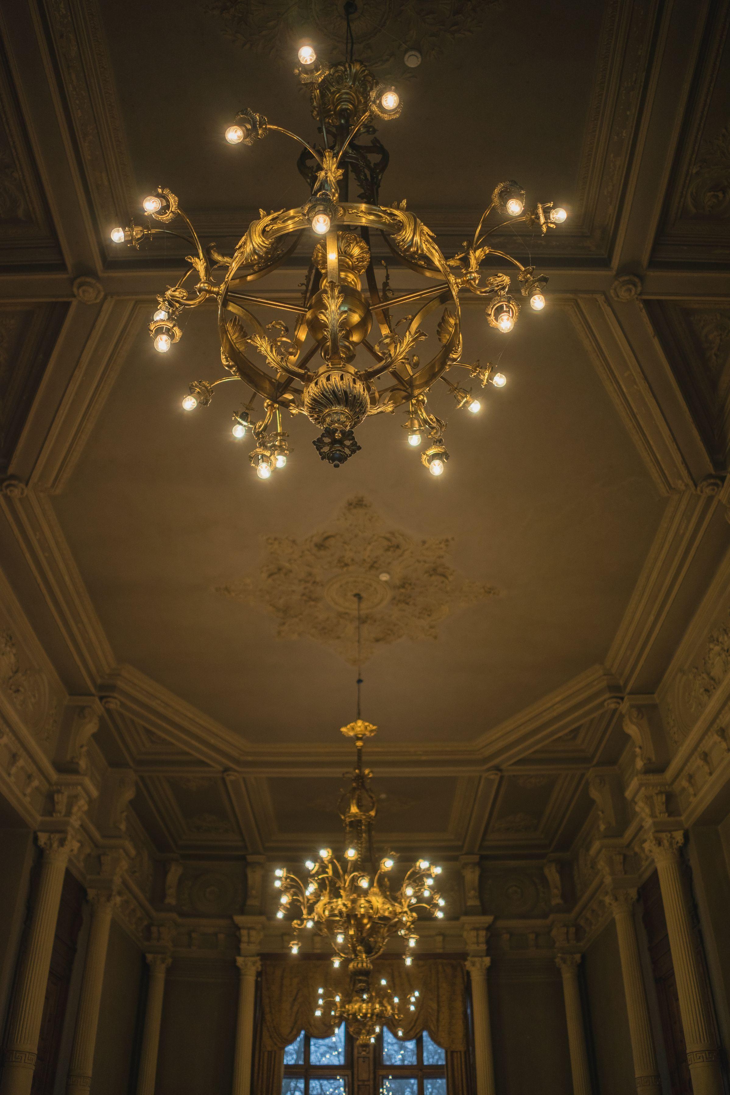 Three chandeliers, 1900–1929, Verkiai Palace. Photo by Povilas Jarmala, 2017