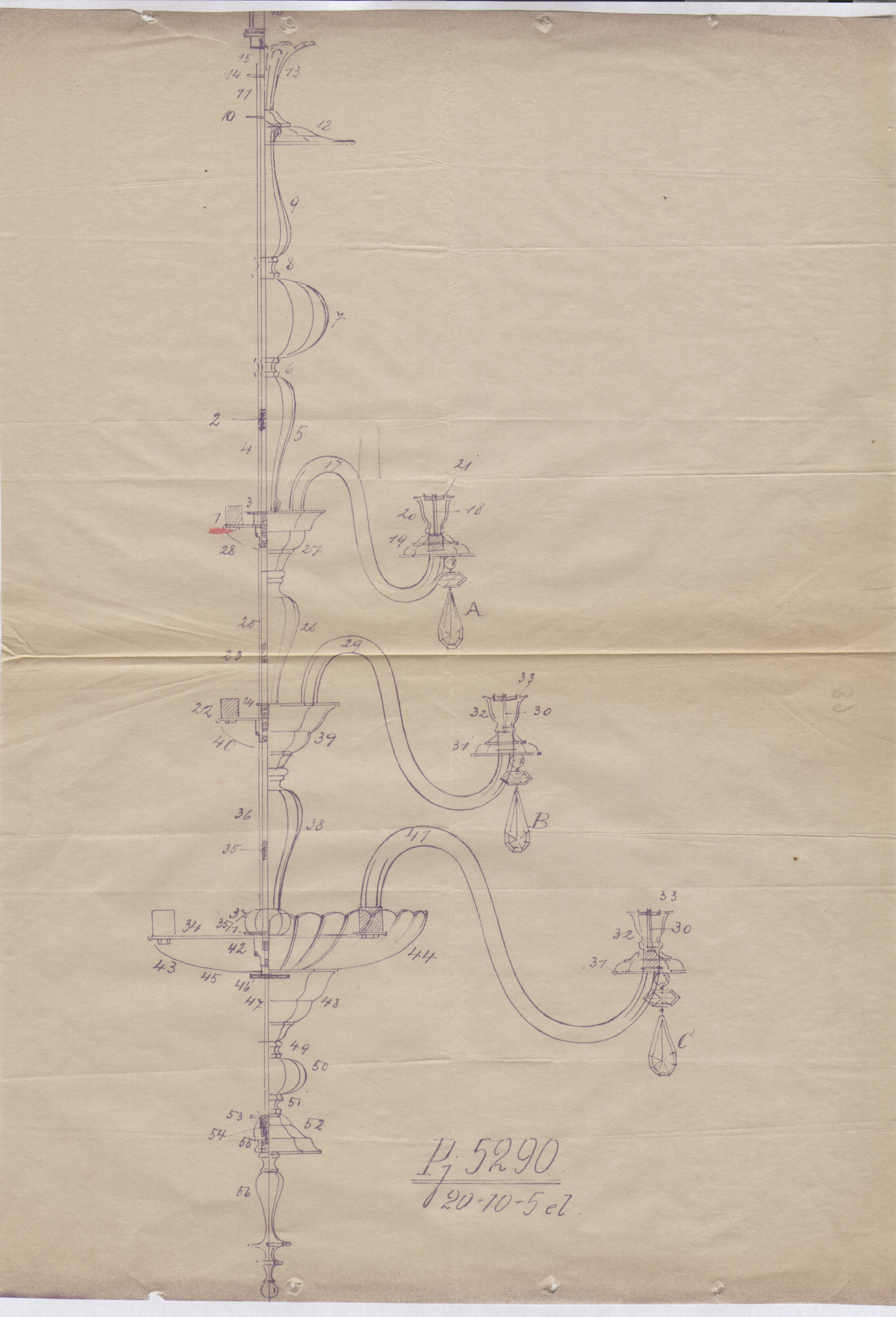 Drawing of the chandelier, 1938, in: Construction file of the Chamber of Commerce, Industry, and Crafts, 1938, in: Lithuanian Central State Archives, f. 987, ap. 1, b. 804.