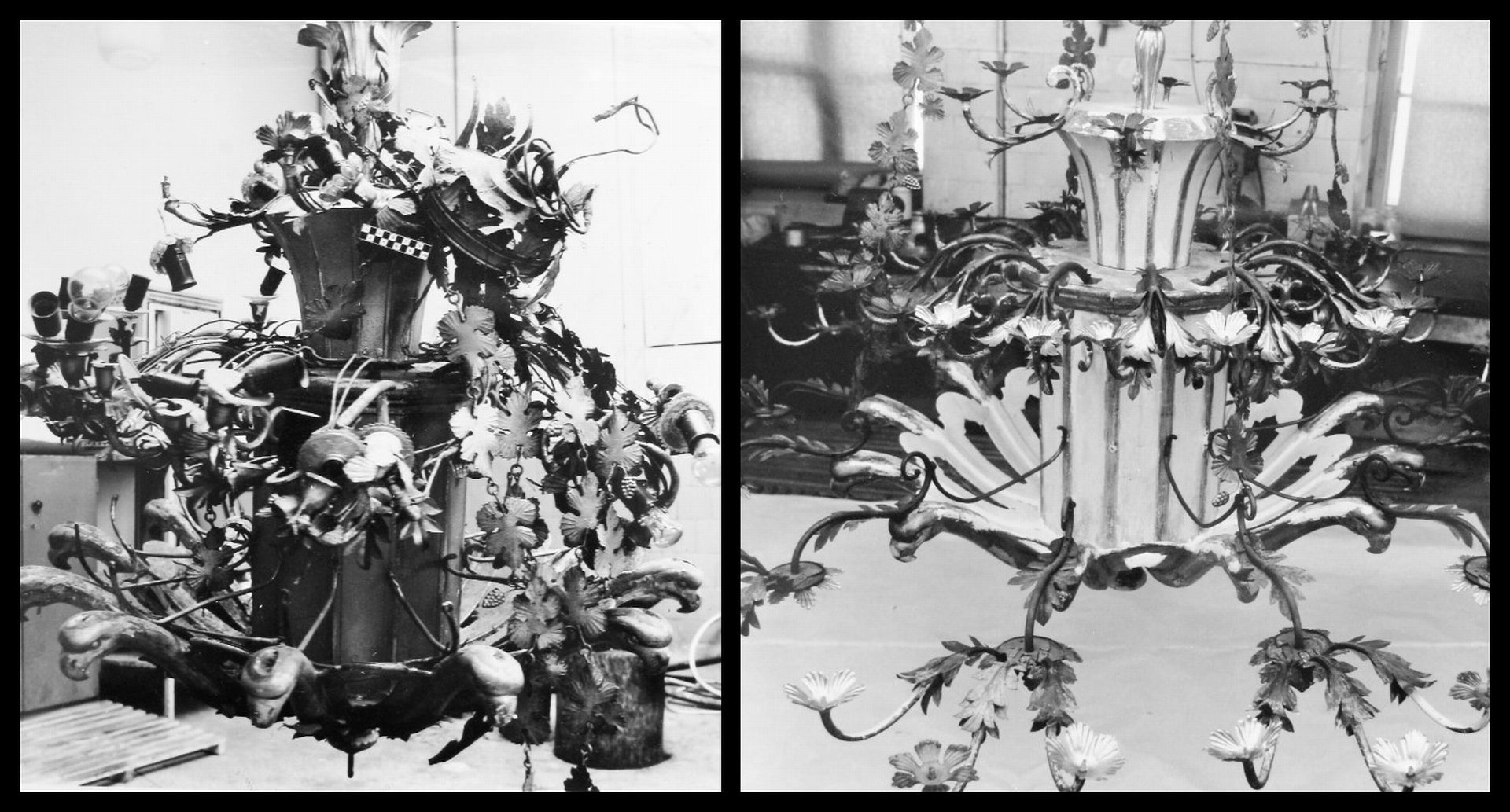 Chandelier before and after restoration, 1985–1988, in: Lietuvos dailės muziejaus Prano Gudyno restauravimo centras, f. 1, ap. 1, b. 255