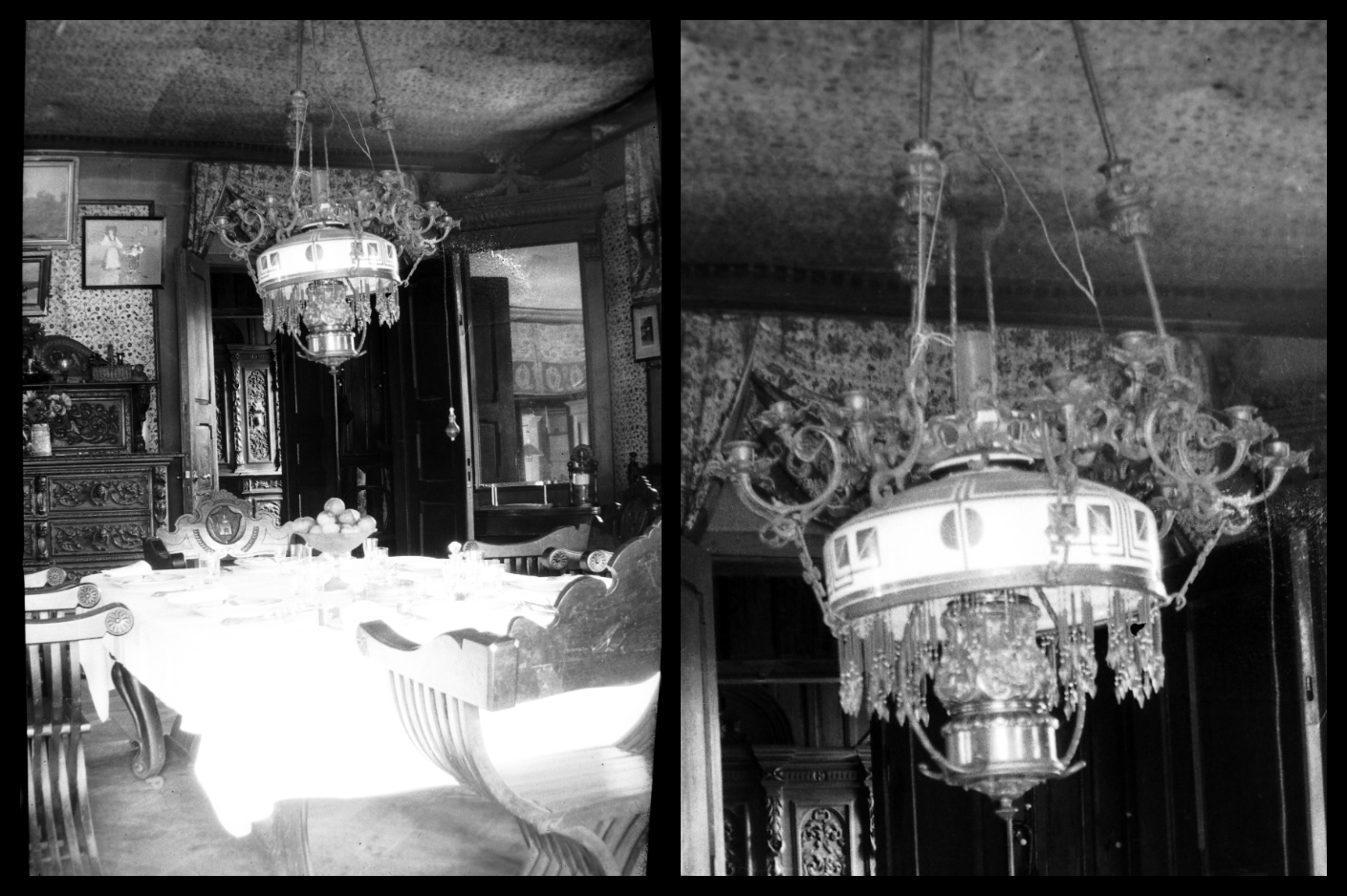 Chandelier in the dining room. Literary Museum of Alexander Pushkin. Photo made to 1935.