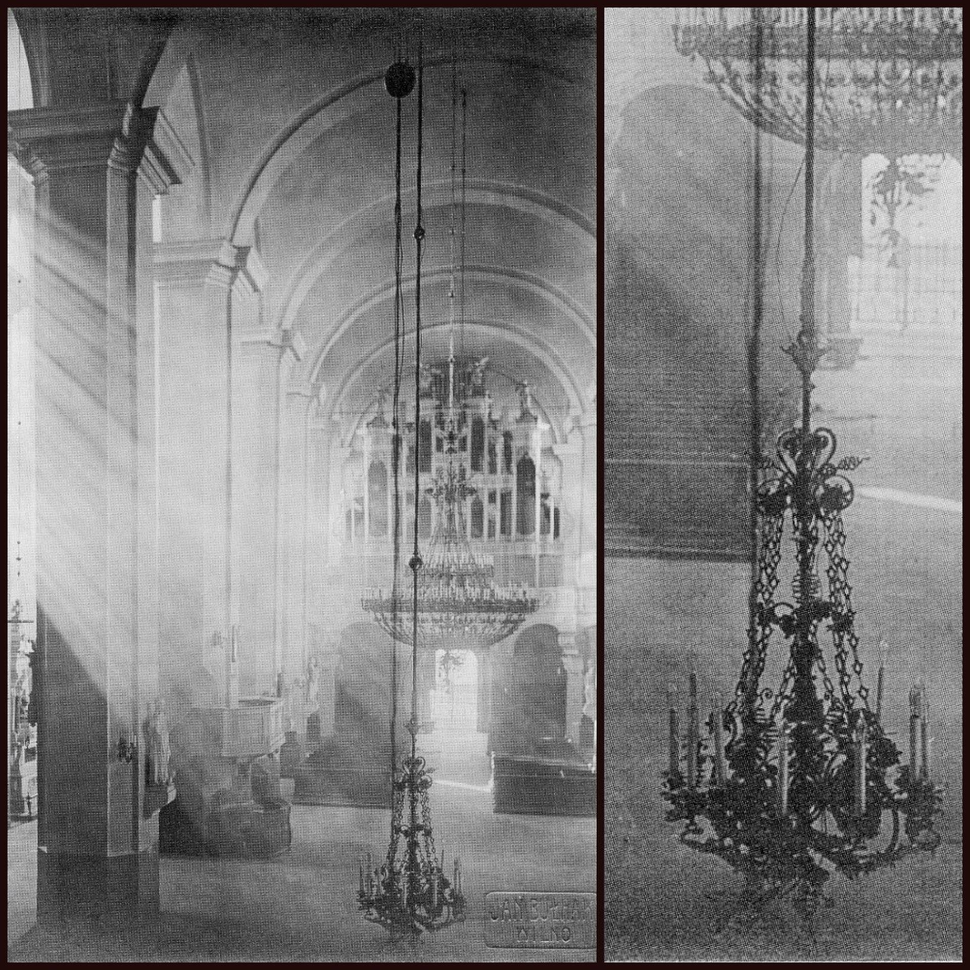 Lost chandelier. Photo by Jan Bułhak, 1912–1915, Vilnius, from: Jan Bułhak, Vilnius, II knyga, sudarė Jūratė Gudaitė, Vilnius: Lietuvos nacionalinis muziejus, 2013, il. 245