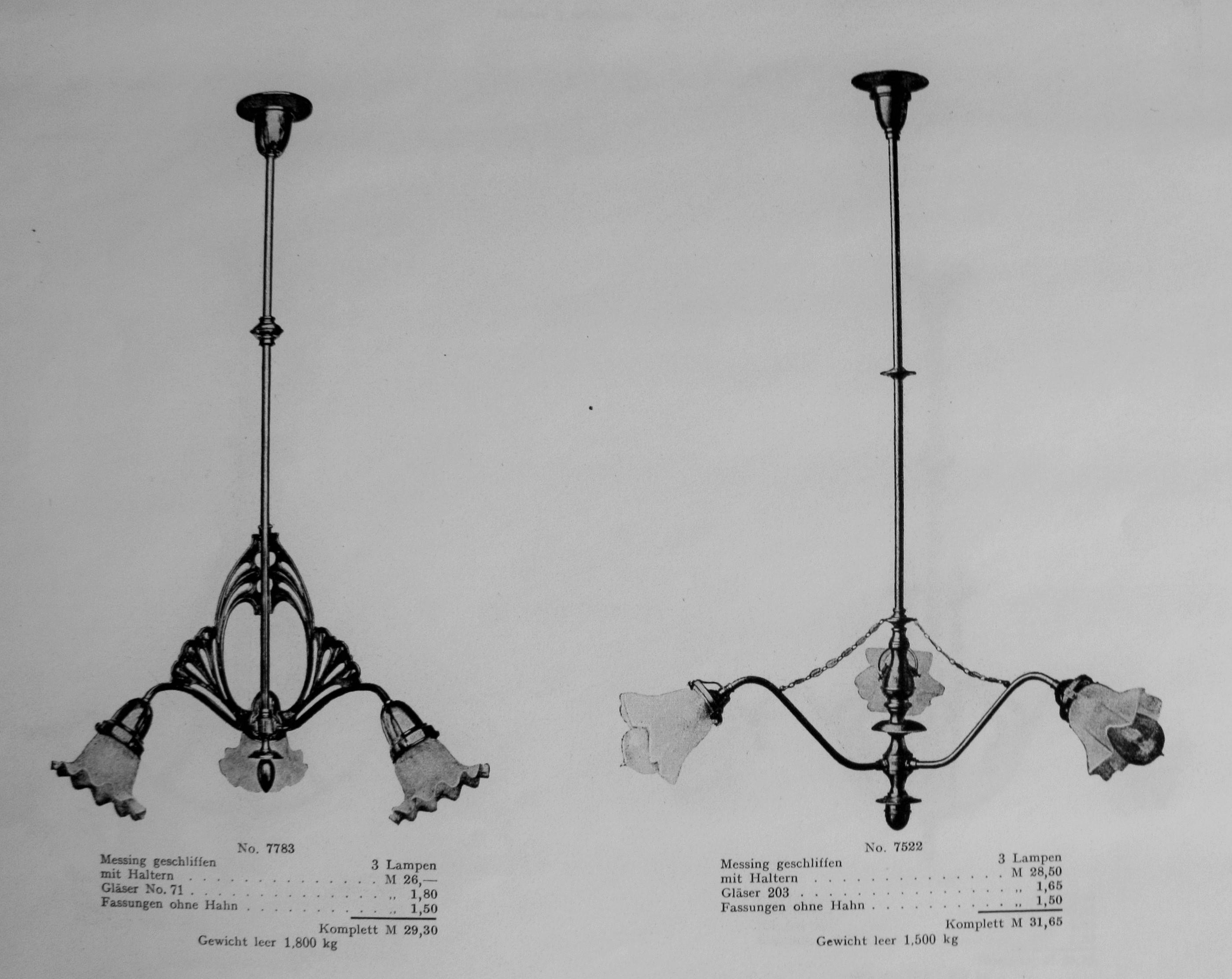 Chandeliers in catalog Beleuchtungskörper GmbH, t. 1–2, Berlin, 1910, in: Lietuvos mokslų akademijos Vrublevskių bibliotekos Retų spaudinių skyrius, A 851.